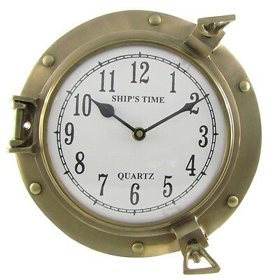 Solid Brass Ships Porthole Wall Clock Maritime ship's Nautical Beach House Decor