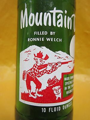 Mountain Mtn Dew Filled By Ronnie Welch 1966 Hillbilly Glass Bottle By Pepsi