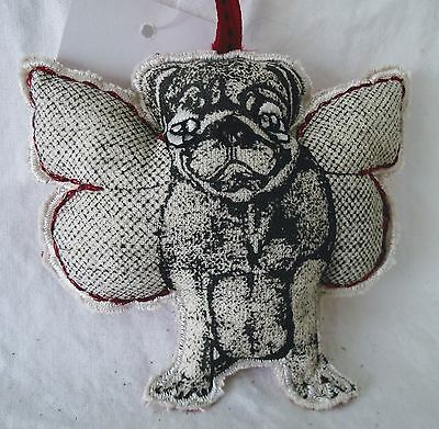 Pug Dog Ornament Christmas Plush Angel Wings Fabric Red Black Holiday Memory NEW
