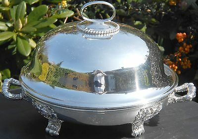 Fabulous Large Antique French Muffin Dish - Silver Plated - Vidame Coronet