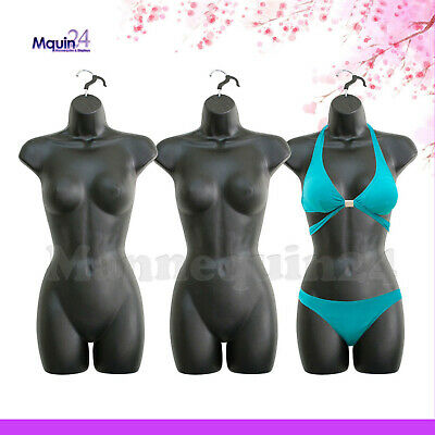 Black Mannequin Female Torsos - Lot of 3 Women Plastic Dress Forms with Hangers