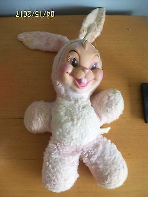 vintage plush easter bunny with rubber face buck tooth stuffed animal Needs TLC