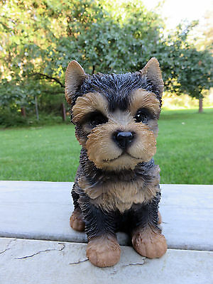 """Yorkshire Terrier Puppy Dog Figurine Statue Resin Pet 6.5"""" H Canine"""