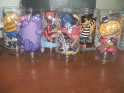 1977 McDONALDLAND ACTION SERIES Glasses COMPLETE Vintage Set of 6