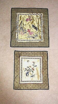 2 Vintage Chinese Embroidered Silk Tapestry Hanging KOI BUTTERFLY Textile Art
