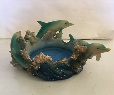 Beautiful  Four Blue Dolphins Waves Resin Dolphin Figurine Statue Candle Holder