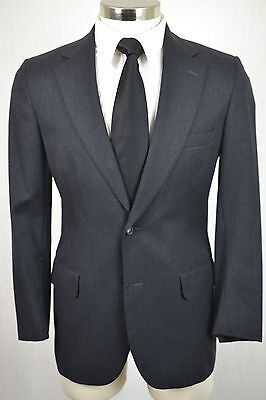 37R Vintage Brooks Brothers Men's Charcoal Gray Wool Classic Flat Front 2pc Suit