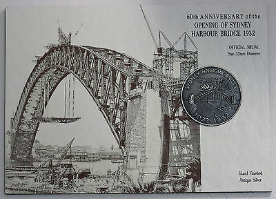 60th Anniversary Opening of Sydney Harbour Bridge 1992 Medal Antique Silver