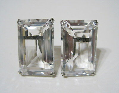 STUNNING Antique ART DECO *LARGE* Faceted ROCK CRYSTAL QUARTZ Sterling EARRINGS