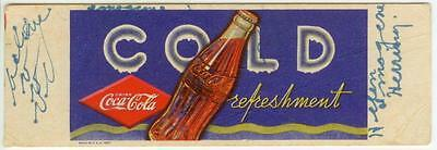 1937 Coca-Cola Cold refreshment ad blotter
