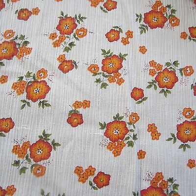 50cm x 92cm VINTAGE COTTON FABRIC 1970s  RETRO ORANGE FLOWER CHEESECLOTH