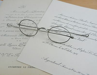 Antique Oval Spectacles, Eyeglasses Mid 1800's Long Straight Teardrop Temples