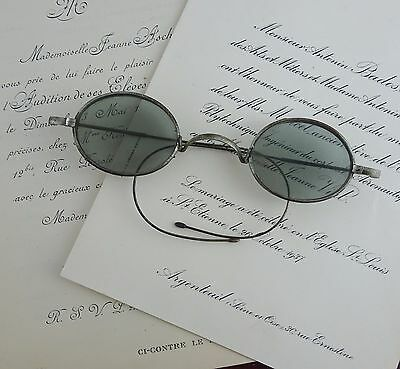 Antique Oval Smoky Grey Glass Spectacles, Eyeglasses Early 1900's Riding Arms