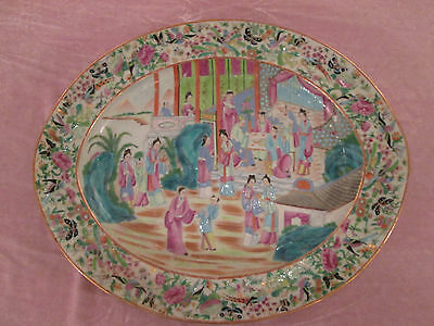 Antique Chinese Charger Imperial Court Hand Painted Enameled 19th Century DE