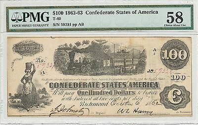 T-40 PF-1 $100 Confederate Paper Money - 1862 - PMG Choice About Uncirculated 58