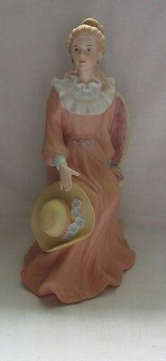 Homco Porcelain Figurine With Pink Dress Setting In Chair  # 1439