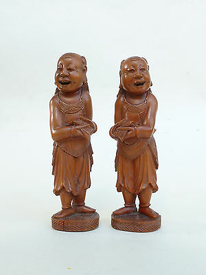 Antique Chinese 20th Century Republic Period Carved Wood Pair of Boy Boys FINE
