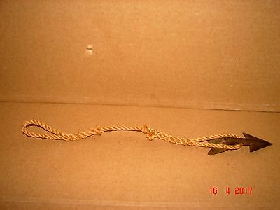 Vintage Brass/Bronze Harpoon Tip, Head, Point With Spliced Line, Tuna, Whaling