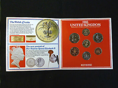 1985 Uncirculated UK Coins Year set BU 7-coin Royal Mint pack