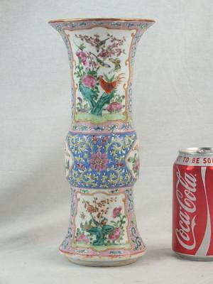 19Th C Chinese Porcelain Famille Rose Chickens Birds Gu Vase