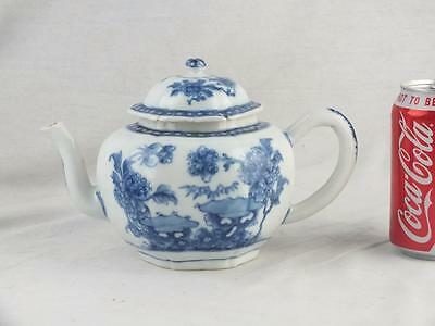 Fine 18Th C Chinese Porcelain Qianlong Blue And White Square Teapot