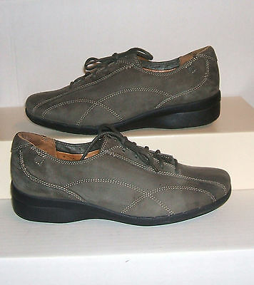 CLARKS UNstructured Women's Charcoal Suede Casual Lace-Up Shoes Oxfords SZ 9.5 M