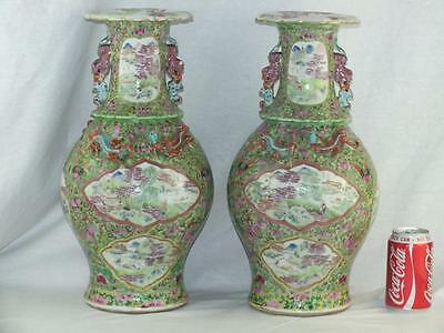 "Fine Large Pair 16.5"" 19Thc Chinese Porcelain Famille Rose Lime Green Vases"