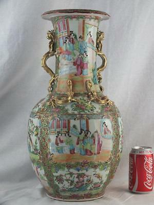 "Good Large 18"" 19Th C Chinese Porcelain Canton Famille Rose Dragon Handles Vase"