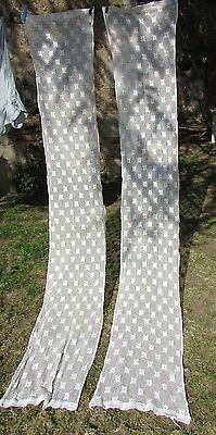 LONG PR VINTAGE FRENCH CREAM MESH LACEY COTTON CROCHET CURTAINS DRAPES 1ft8x8ft9