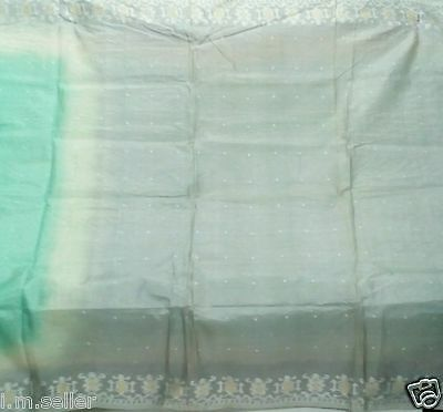 Vintage Amazing Color 100% Pure Silk Sari Fabric Material Woven Weaving Saree