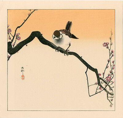 KOSON Japanese Woodblock Print - SPARROW ON A FLOWERING BRANCH 1930s