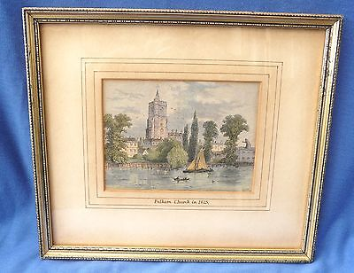 Antique Coloured Engraving -  Fulham Church in 1825 - Framed