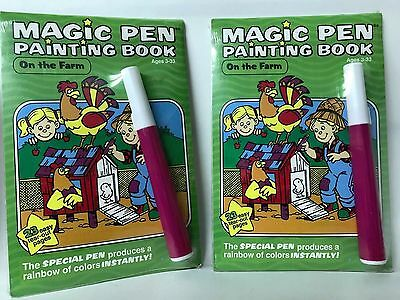 Magic Pen Painting Book ON THE FARM Set of 2 NEW
