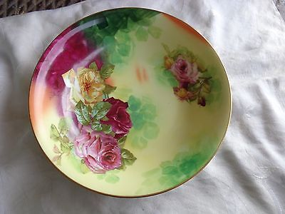 Antique Limoges France Hand Painted Both Sides Deep Red Pink Yellow Roses Bowl