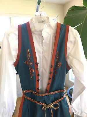 Original! Lovely Old Norwegian Cotton Hand Embroidered Telemark Bunad Norway