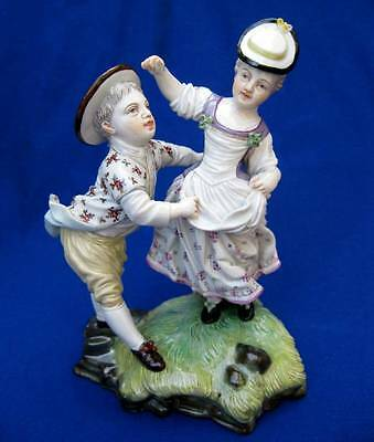Antique Hochst? Passau? German Porcelain Figurine Couple Playing Dancing