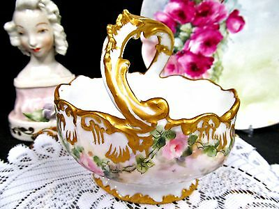 Limoges France Hand Painted Flowered Rose Fancy Basket Thick Double Gold