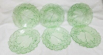 "6 Vintage Green Depression Glass Avocado Sweet Pear 6 1/4"" Bread Plates"