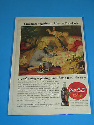 1945 Coca-Cola Magazine Advertisement Christmas Fighting  Man Home From War