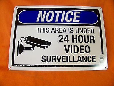 "New Hillman Vigeo Surveillance Aluminum 10"" X  14"" Sign"
