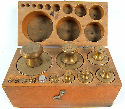 Antique Brass Scale Weight Set in Original Oak Box, Set of 12 From 4 lbs. Down