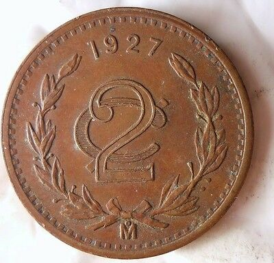1927 MEXICO 2 CENTAVOS - Excellent Hard to Find Vintage Coin - Lot #S3