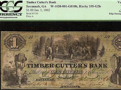1862 $1 Dollar Bill Timber Cutter's Bank Note Currency Paper Money Georgia Pcgs