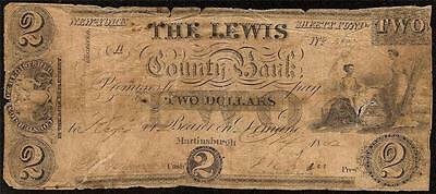 1852 $2 Lewis County Bank Note Martinsburgh New York Currency Two Dollar Bill