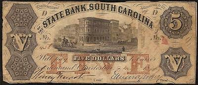 1855 $5 Dollar Bill South Carolina Bank Note Large Currency Old Paper Money