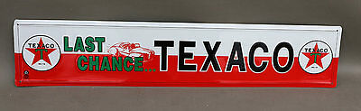 "24"" Embossed Red Star TEXACO GAS OIL Door Bar Sign"