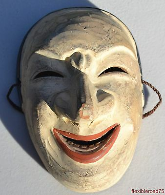 Japanese Antique Ceramic Clay Hand Made Noh Mask Kabuki Kyoguen Kagura Bugaku