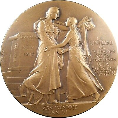 1918 French Reoccupation of Mulhouse Bronze Art Nouveau Medal by Frédéric Vernon