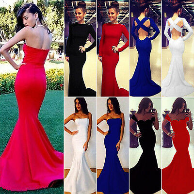 Ladies Mermaid Prom Ball Cocktail Evening Party Maxi Dress Formal Evening Gown
