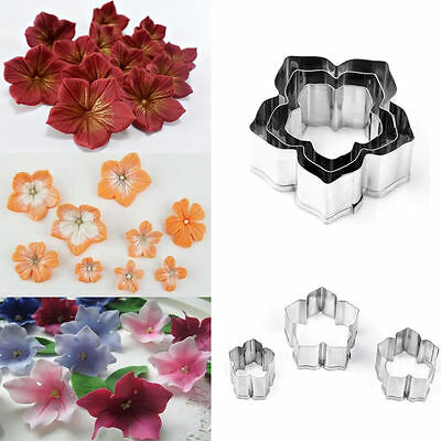3Pcs/Set Flower Cookies Cutter Pastry Biscuit Cake Decorating Mold Mould Tools